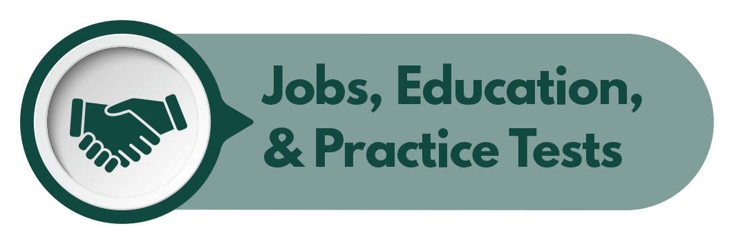 Jobs, Education & Practice Tests